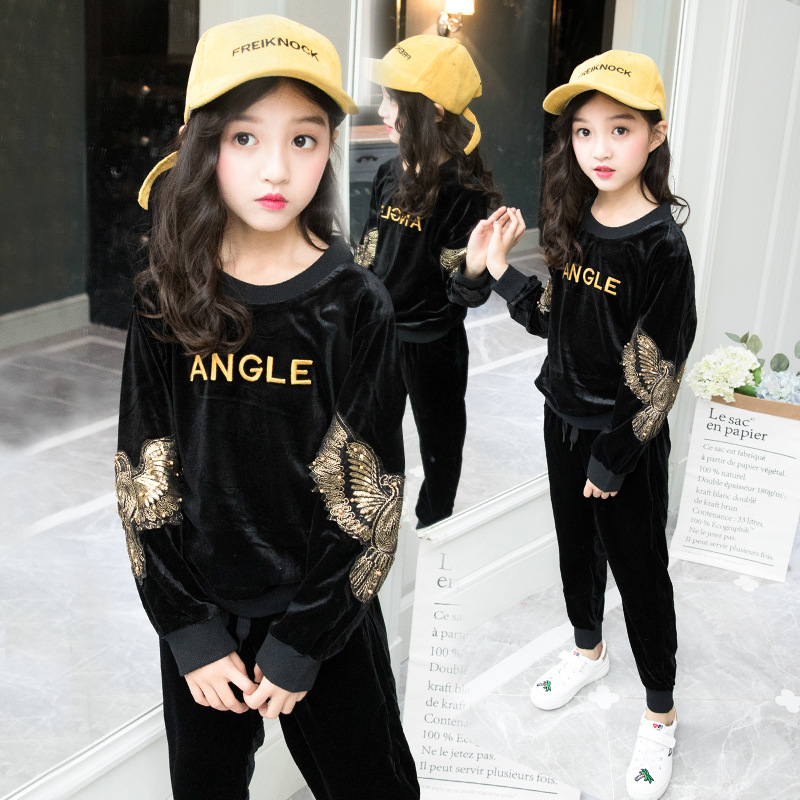 Spring Autumn Vestidos Tracksuit Girls Sports Suit Velvet Kids Fashion Sportwear Children Track Suit Clothes Set Casual Outfit spring autumn vestidos tracksuit girls sports suit kids fashion hooded sportwear children track suit clothes set casual outfit