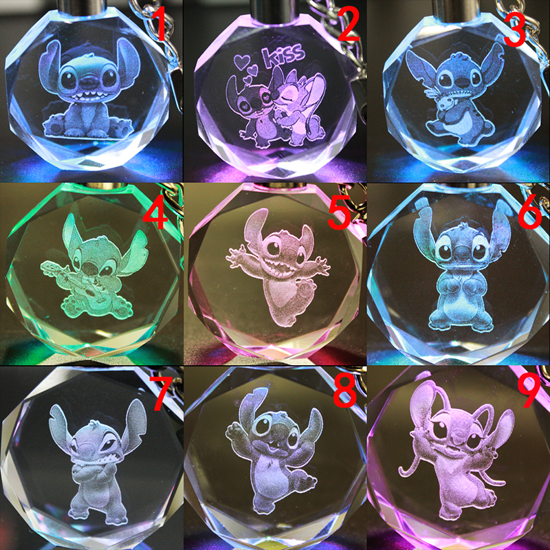 Lilo&stitch Fashion Crystal Keychain Cartoon Anime Crystal Shiny Ball Cosplay Ball Led Keyrings Car Keychains LED Key Chain