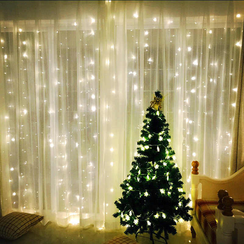 300 Led Icicle Led Garland Curtain Fairy String Light Fairy Light Led Christmas Light for Wedding Home Patio Party Decor