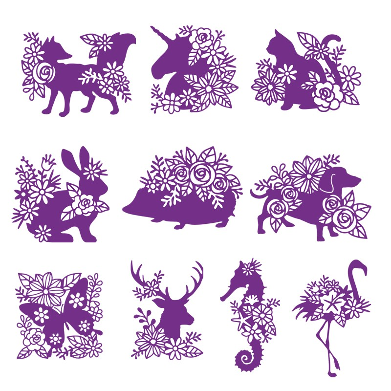 Silhouette Stag Fox Cat Dog Unicorn Sea <font><b>Horse</b></font> Animals <font><b>Metal</b></font> Cutting Dies for DIY Scrapbooking Paper Cards Crafts 2019 New Dies image