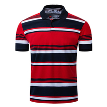 Polo Shirt New Mens Lapel Urban Fashion Striped  Casual Business Short Sleeve