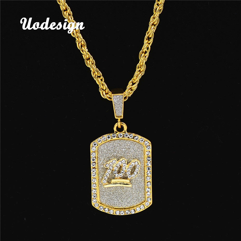 Uodesign Hip Hop Hot Sales Crystal Gold Color Plated 100 Score Army Card Pendant Necklace Men Women Personality Trend Jewelry ...