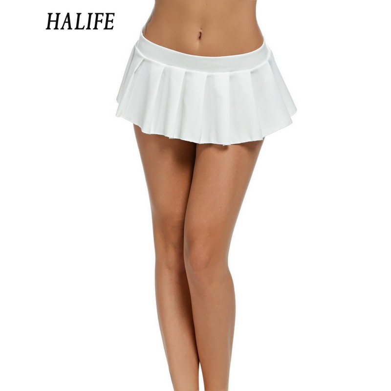 HALIFE Women Micro Skirt Sexy Low Waist black white green Short Mini Skirt Sleepwear Nightwear Cosplay Faldas Pleated Skirts 615
