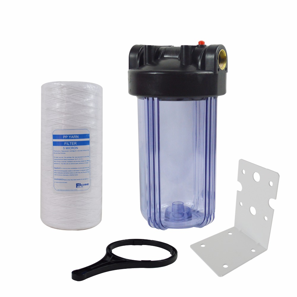 Transparent 10x4-1/2 Whole house Water Filter Include 5 Micron String Wound Sump System Drop-In filter/Mounting bracket/wrench постельный сет 4 предмета baby expert cuore di mamma крем золото