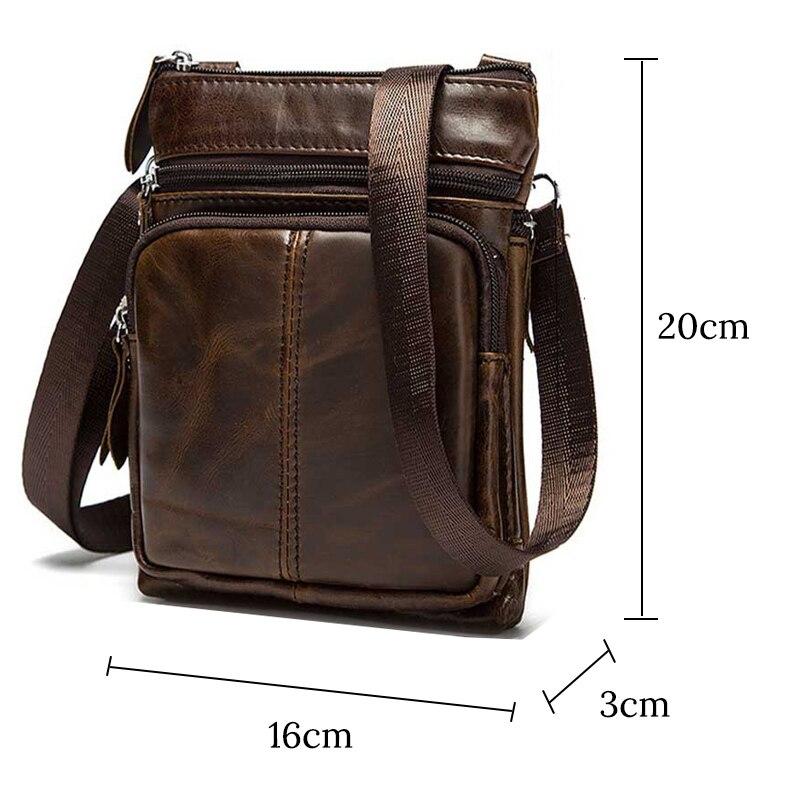Image 5 - Genuine Leather shoulder bags men Crossbody Bag Designer Natural cowhide Shoulder Bags Vintage Small Flap Pocket Handbag-in Crossbody Bags from Luggage & Bags