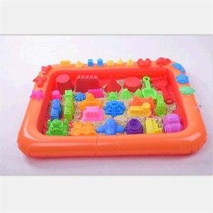 Wielofunkcyjny nadmuchiwany piasek taca plastikowy mobilny stół dla dzieci dzieci kryty gra glina piaszczysta kolorowe błoto akcesoria do zabawek
