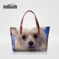 Dispalang High Quality Designer Handbags Women Travel Shoulder Bag Chinese Crested Dog Animal Prints Female Totes Bags Women-bag