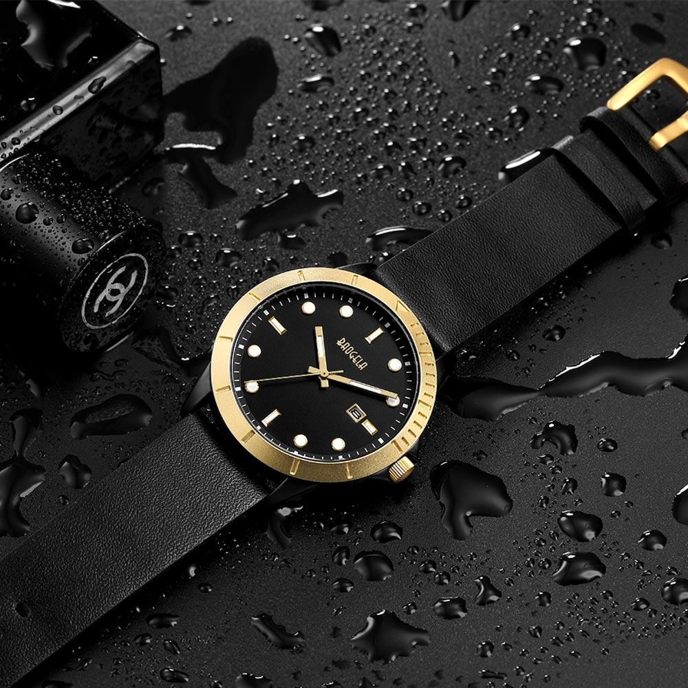 BAOGELA Mens Fashion Simple Watch Mens Leather Waterproof Casual Quartz Wrist Watch vietnam veteran leather mens watch