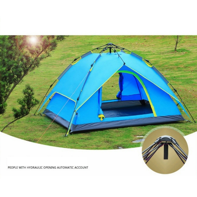 3-4 Person Family Camping Quick Hydraulic Automatic Opening Tent Double-layer For Camping Fishing Traveling Climbing