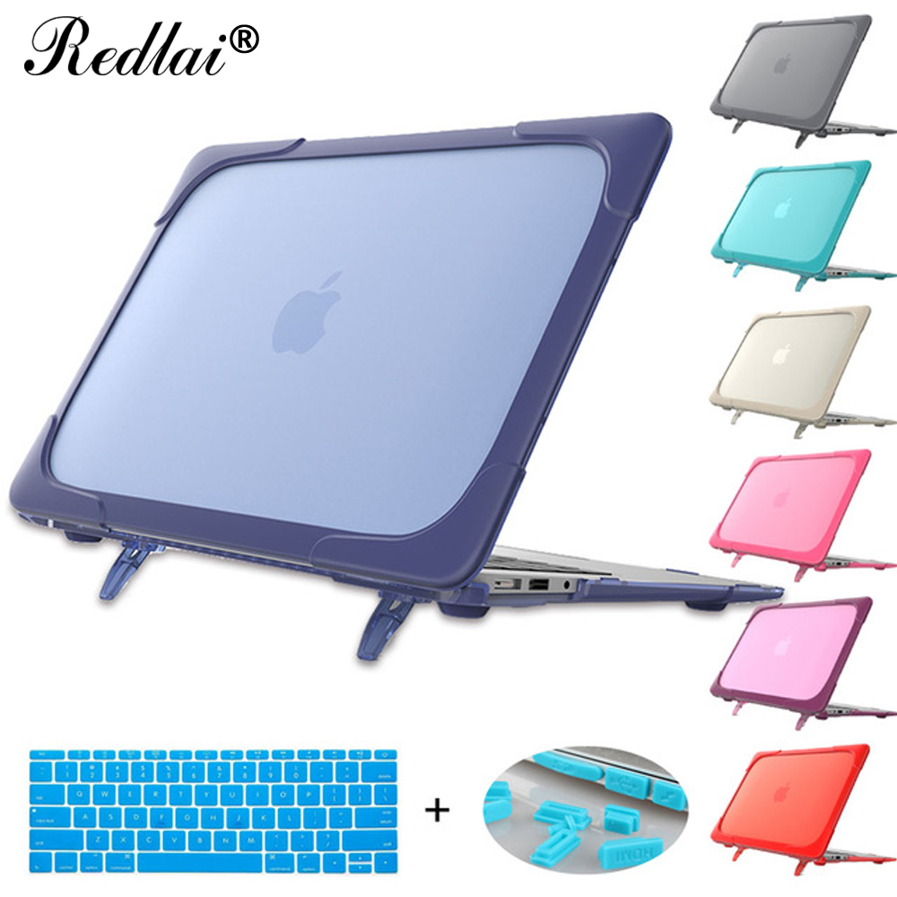 Redlai Plastic Hard Case with Foldable Bracket For Macbook Pro 13 A1706 A1708 Shockproor Laptop Case For Air 12 Pro 13 15 Retina redlai plant floral print hard case for apple macbook pro retina 13 3 12 15 4 sleeve air 11 13 3 new pro 13 15 a1706 laptop case