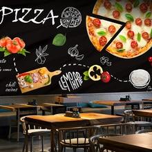 Custom 3d mural Blackboard graffiti food pizza theme wallpaper western restaurant coffee shop coffee snack Cafe wallpaper mural