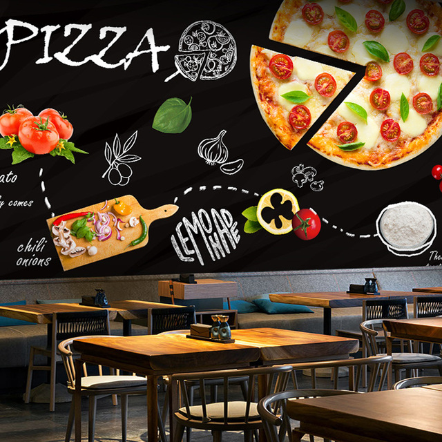 Custom 3d Mural Blackboard Graffiti Food Pizza Theme Wallpaper