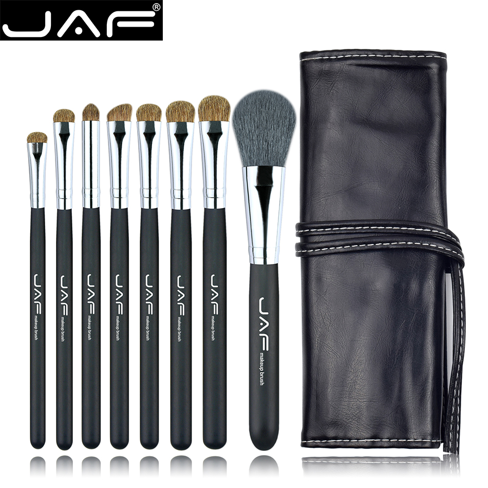 Studio 8 pcs Make Up Brush Sets in Leather Case with String Makeup Brushes Kit Natural Animal Hair J0811YC-B
