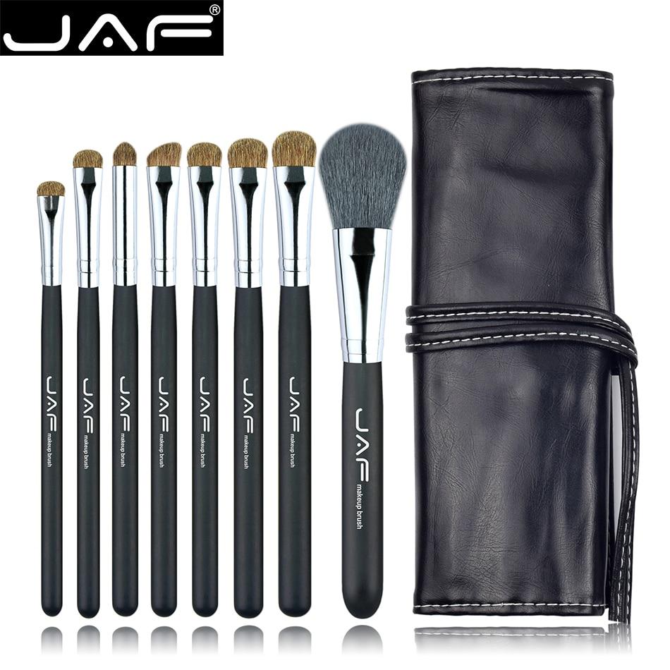 Studio 8 pcs Maquillage Ensembles de Brosses en Cas avec Chaîne En Cuir Maquillage Brosses Kit Animale Naturelle Cheveux J0811YC-B
