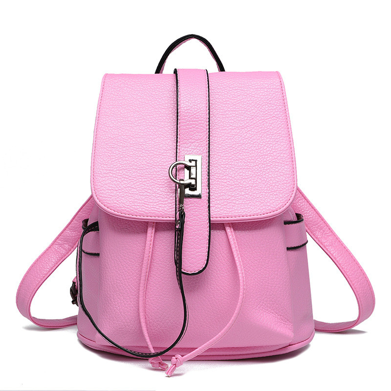 2017 Newest Design Female Bags Concise Leisure Fashion Elegant Lady Backpacks Solid Color Pink Lavender Wine