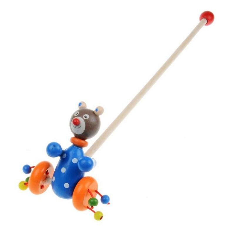Niño Juguete Entrenamiento Mini Pequeño Caminata Bebé Coche Puzzle Empujando Lindo Animados Animal De Educativo Dibujos Madera Animales WY2DIEHe9b