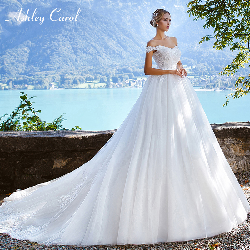 Ashley Carol Sexy Boat Neck Cap Sleeve Ball Gown Wedding Dresses Tulle Lace Up Bridal Dress