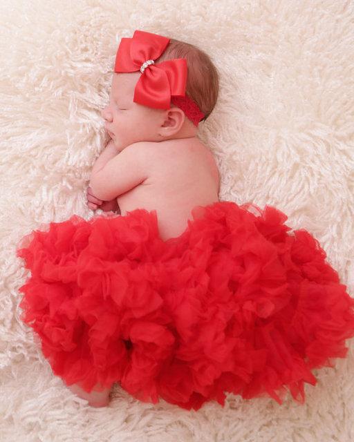 Christma Pettiskirt tutu Pettiskirt del tutú rojo Rojo de la navidad de navidad Niñas Bebés Pettiskirt Del Tutú de Las Colmenas en Rojo