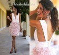 Custom Made Short Pink Feather Cocktail Dresses 2017 Sexy Deep V-Neck Backless Short Prom Party Gowns Robe De Cocktail
