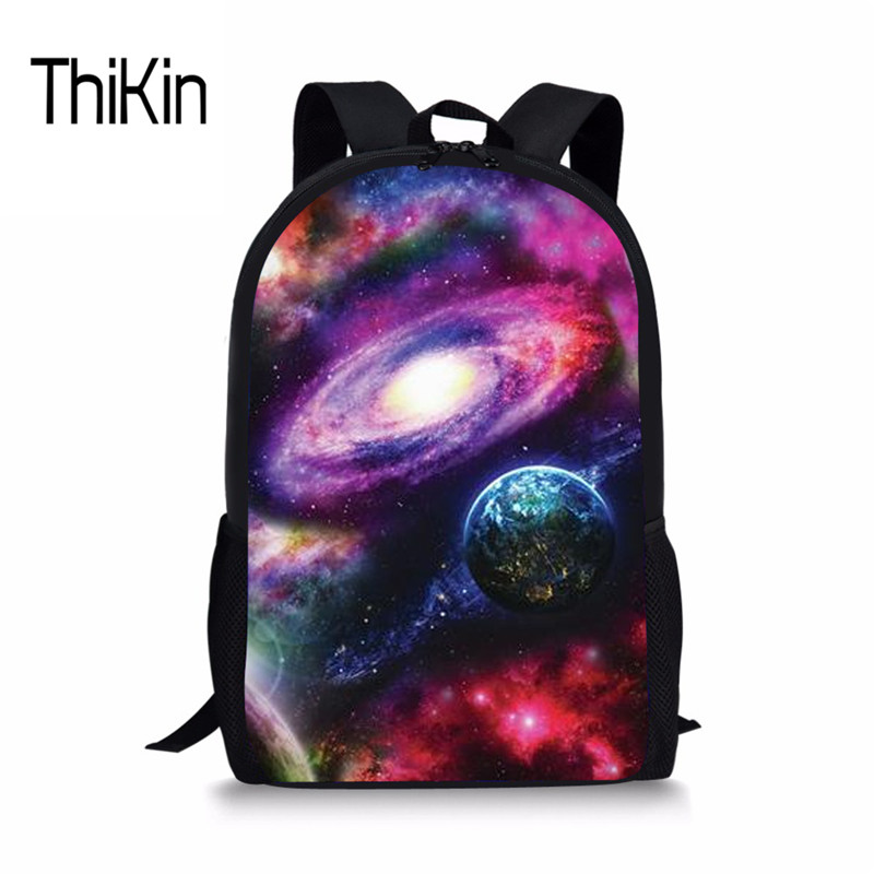 THIKIN Cosmos Primary Schoolbag For Grils Boys Galaxy Printing School Mochila Fashion Sa ...