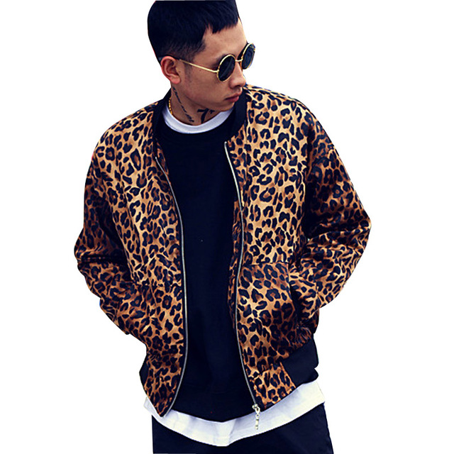 Men Women High Street Hip Hop Leopard Baseball Jacket Male Fashion Casual Coat Nightclub Bar Singer Dancer Stage Costumes