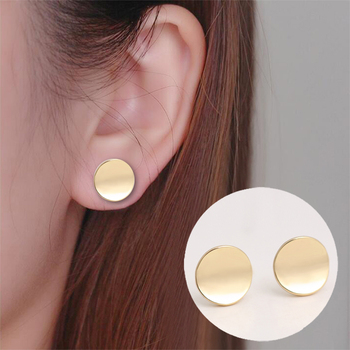 Shiny Geometric Round Stud Earrings 4