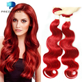Predazzle 9a Red Brazilian Virgin Hair Weave 3 Bundles High Quality Body Wave Colored Human Hair Extensions Tissage Bresilienne