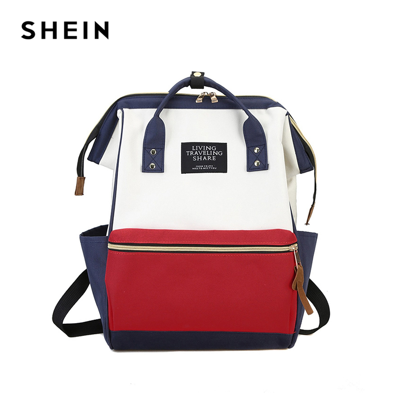 SHEIN Letter Color Block Satchel Large Backpack Multicolor Women Casual Bags Youth Shoulder Bag Schoolbags for Teenager цена 2017