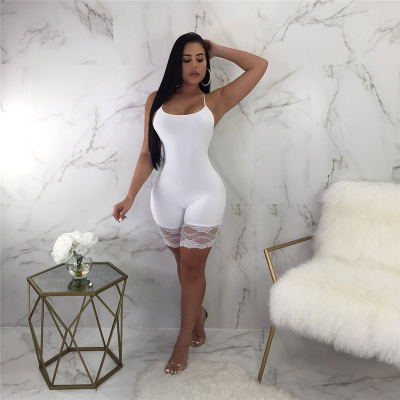 Women Sexy Sleeveless Bodycon Strap Lce   Romper   Clubwear Backless Bodysuit Short Pants Black White 2Solid Colors