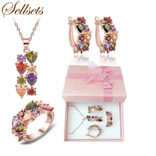 Sellsets Free Shipping Ring Size 6-9 Rose Gold Color Multicolor Zircon Necklace Earring Set Cubic Zirconia Women Jewelry Sets