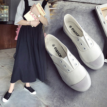 купить 2019 Promotion Flat Shoes Women Loafers Fashion Sneakers Canvas Shoes Woman Spring/Autumn New Casual Slip-on White Ladies Shoes дешево