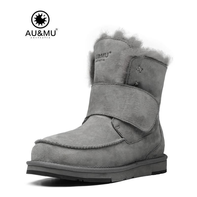 2017 AUMU Australia Suede Hook Strap Round Toe Rubber Soles Snow Winter Boots UG N360 2017 aumu australia women classic short sheepskin elastic suede winter snow boots ug ny082