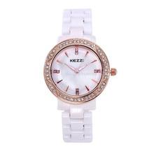 Envío Gratis Kezzi Señoras de Las Mujeres de Los Hombres Reloj Análogo de Cuarzo Vestido Relojes de Pulsera Regalos De Cerámica Pulsera Casual K801 Impermeable