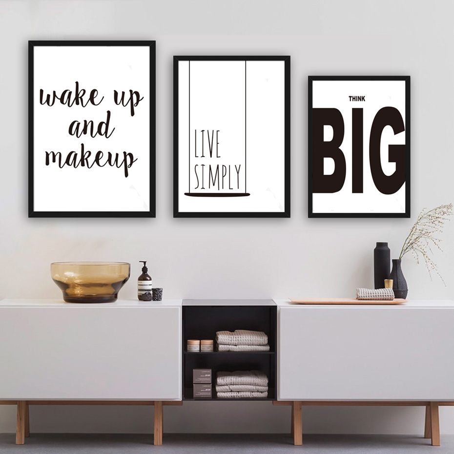 Black White Nordic Quotes Canvas Poster Printing Live Simply Wake Up ...