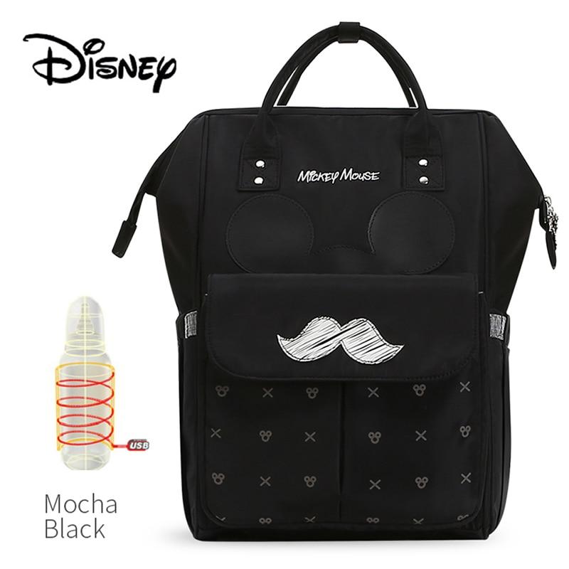 Disney Baby Diaper Bags USB Warm Cute Mummy Maternity Nappy Diaper Stroller Bag Insulation bebek bakim cantalari Travel Backpack