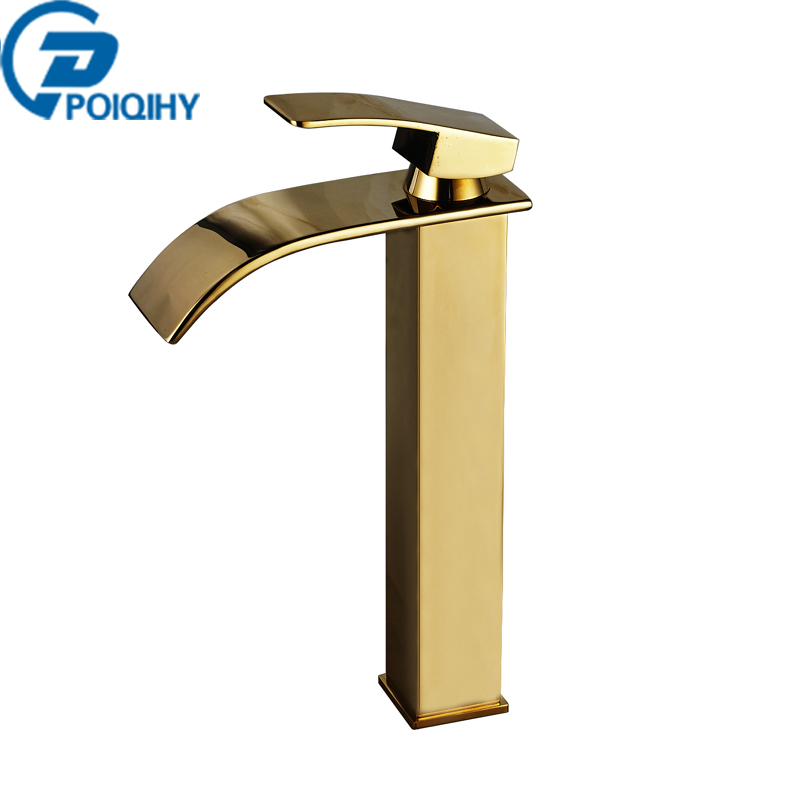POIQIHHY Basin Faucet Golden Bathroom Faucet Deck Mounted Bathroom Faucet Mixer Tap Single Handle Single Hole Spout Sink Taps becola basin faucet luxury bathroom golden mixer single handle single hole deck mounted waterfall tap lt 509 free shipping