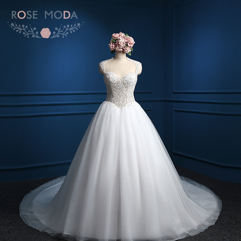 Rose Moda Luxury Arabic Ball Gown High Collar Wedding Dress Cathedral Train Crystal Wedding Dresses 2018 Real Photos