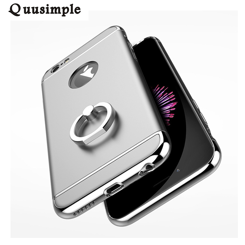For iphone 7 case Aluminum Metal <font><b>Ring</b></font> Holder Stand <font><b>Phone</b></font> Cases for iphone 7 plus Kickstand Protection Cover <font><b>Plastic</b></font> Hard Cases