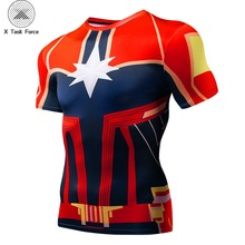 2019 New Carol Danvers movie Captain Marvel 3D Printed T-shirts Men Short sleeve compression Fitness Clothing Male Tops S-4XL