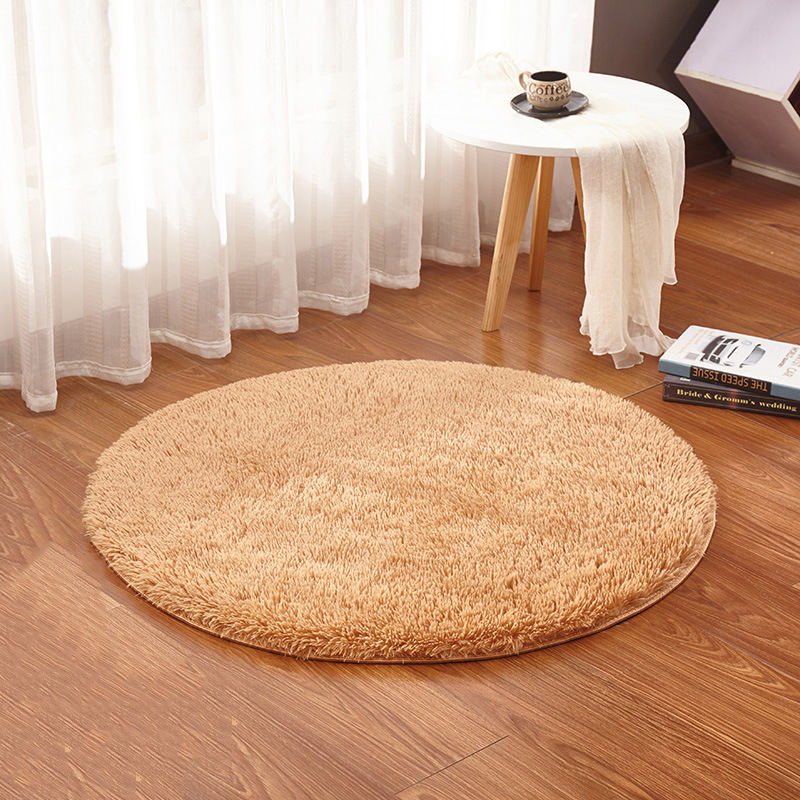 Plush Dusk Rug: 15 Colors Solid Round Bedroom Carpets Fluffy Plush Area