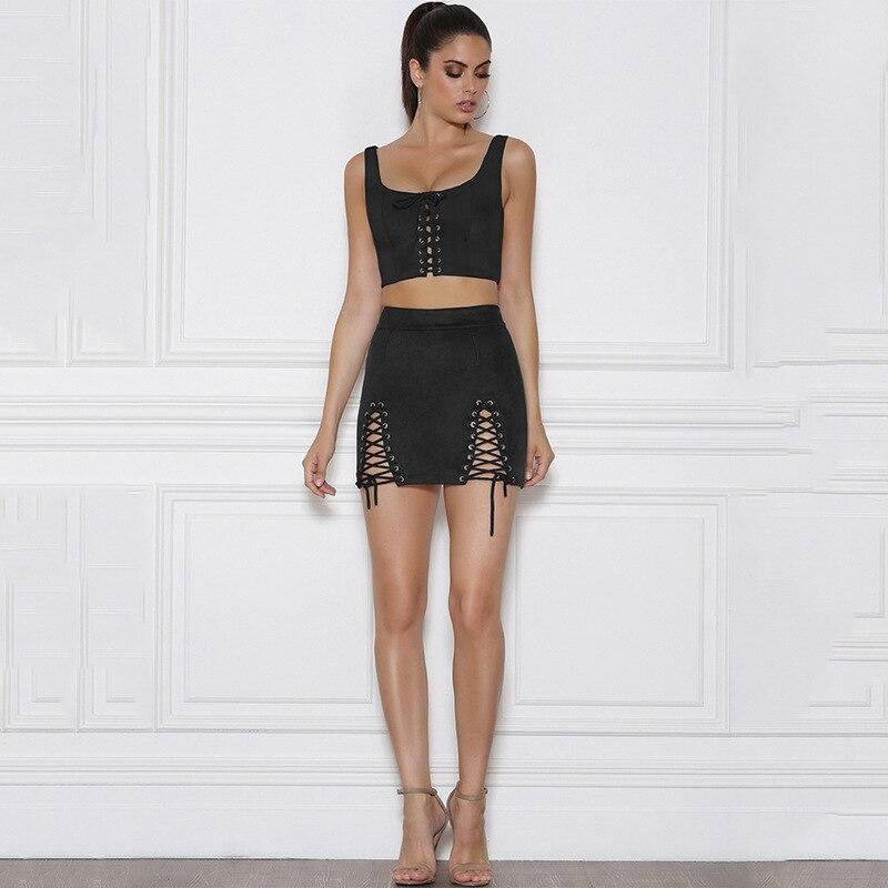 Suede Two Piece Set Sleeveless Crop Top And High Waist Mini Skirt 4