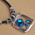 2016 Fashion Creative Square Big Pendant Blue CZ Zircon Leather Chain Collar Accessories Christmas Gift Bijoux feminino collar