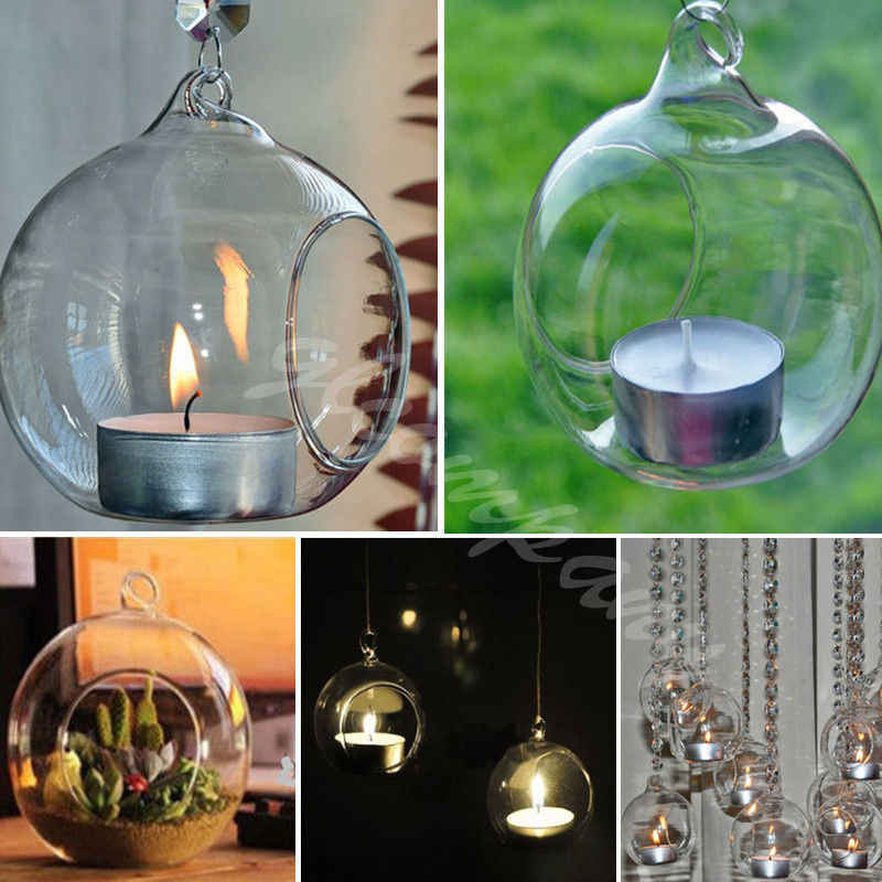 Christmas Hang Drop Ornaments Crystal Glass Hanging Candle Holder for Christmas Trees Candlestick Romantic Wedding Dinner Decor