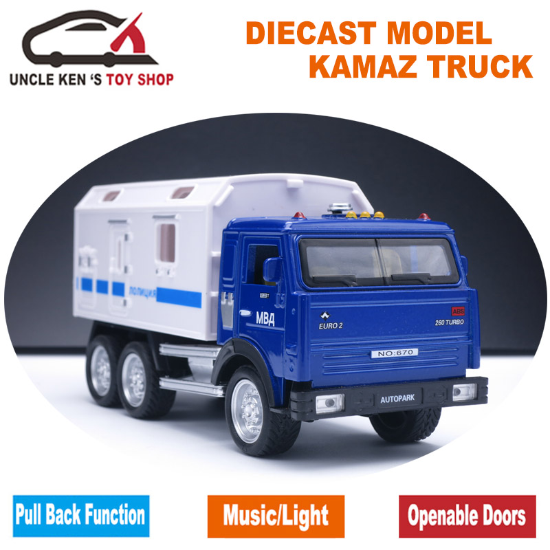 1:32 KAMAZ Military Diecast Toy Truck, Metal Cars With Drag Back Funktion / Musik / Light / Russian Version For As Kids Gift
