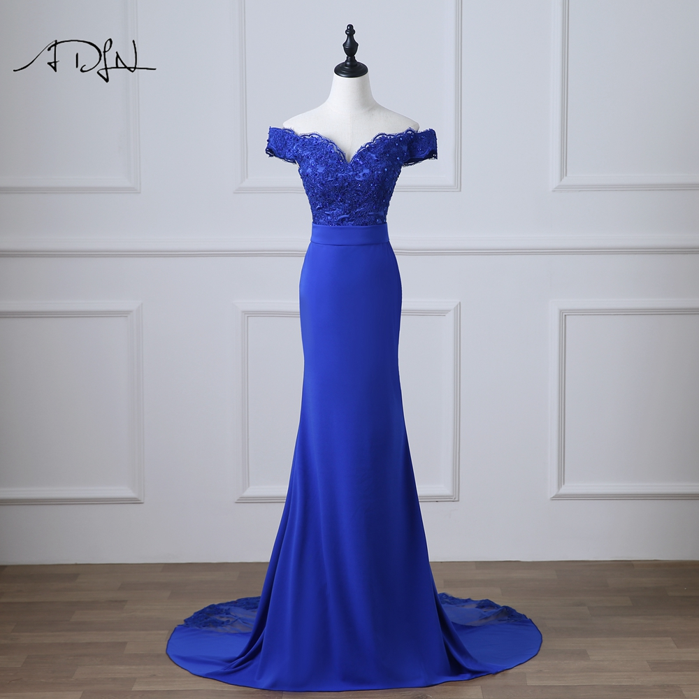 ADLN Off-the-shoulder Royal Blue Evening Dress With Appliques Beaded Special Occasion Dress Robe De Soiree Mermaid Party Gown