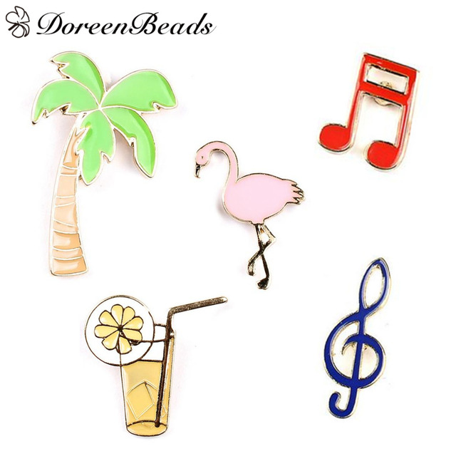 DoreenBeads 1 PC Women's Collar Brooch Pins Coconut Tree Crane Note Juice Flamingo Badges Brooches for Women Girls Party Gifts
