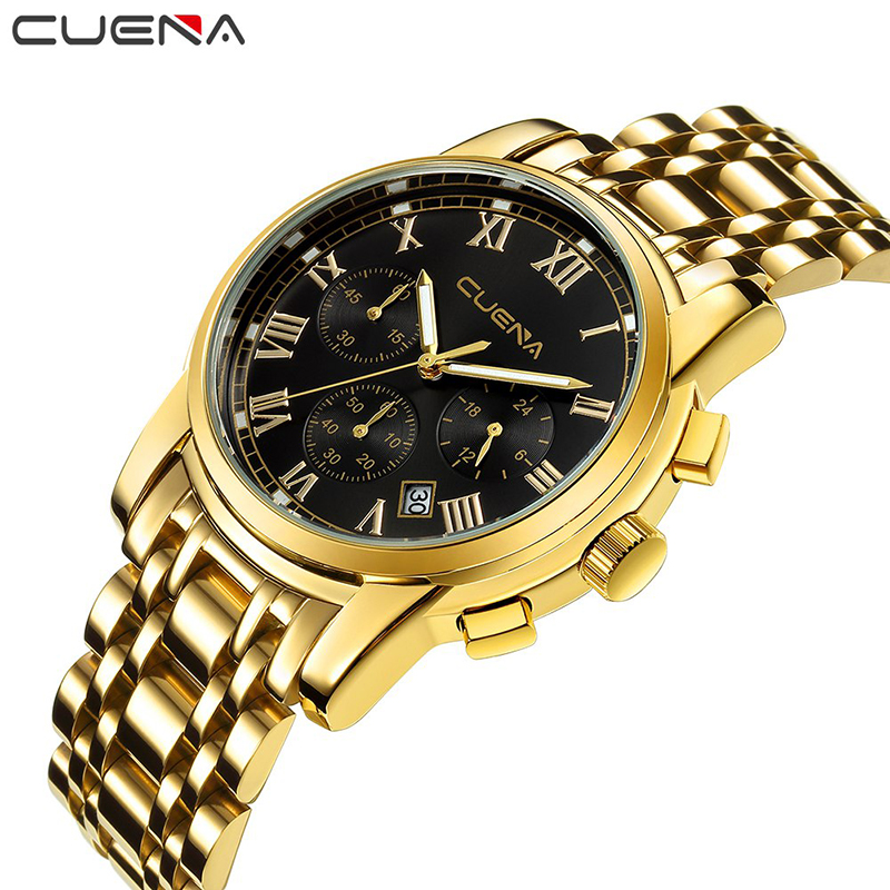CUENA Fashion Mens Watches Top Brand Luxury Stainless Steel Men Quartz Watch Waterproof Wristwatches Man Clock Relogio Masculino men fashion quartz watch mans full steel sports watches top brand luxury cuena relogio masculino wristwatches 6801g clock
