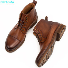 QYFCIOUFU 2019 Spring Autumn Men's Chelsea Boots Genuine Leather Casual Ankle Boots British Style Lace-up Vintage Short Boot