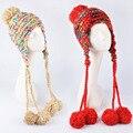 2016 женщина зима грубых линий руки вязать шерстяные шапки ухо шапки открытый расширение косы мило Вязаная шапка цвет Skullies шапочки cap