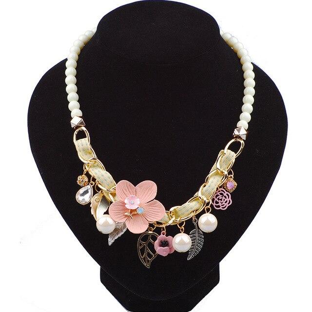 71b95214dd1b Letra Believe maxi collar 2017 declaración de moda tela flores hoja collares  y colgantes joyería para